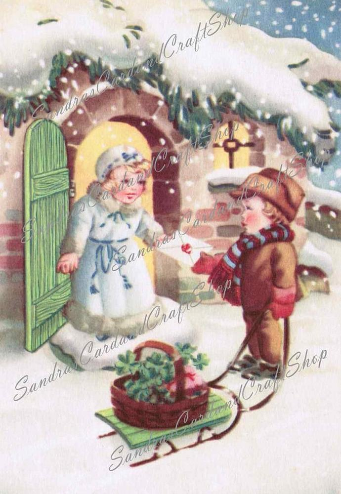 Vintage Special Delivery Christmas postcard Digital Images of 1940's postcard /