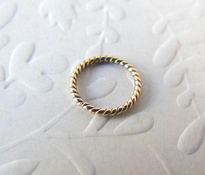 14k Solid Gold Dainty Twisted Wire Endless by GazitJewelry on Zibbet