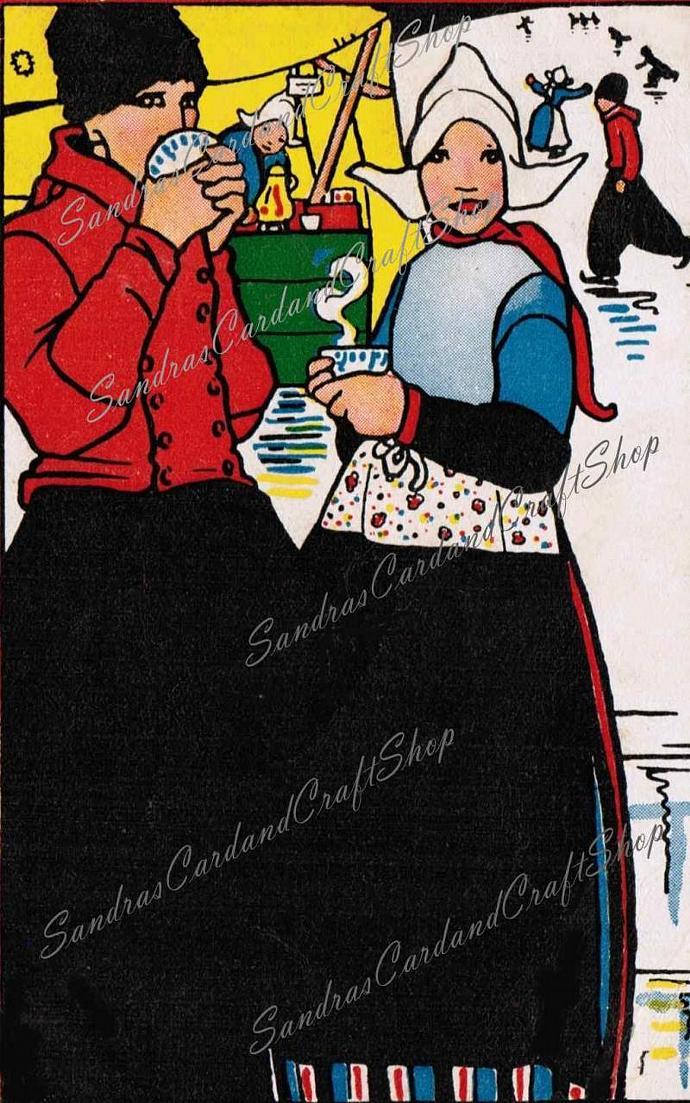 Vintage 1940's Dutch Skater's postcards  Digital Images of 1940's postcard /