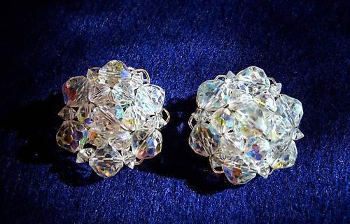 Vintage - Silver Clear Cluster Elegant Earrings