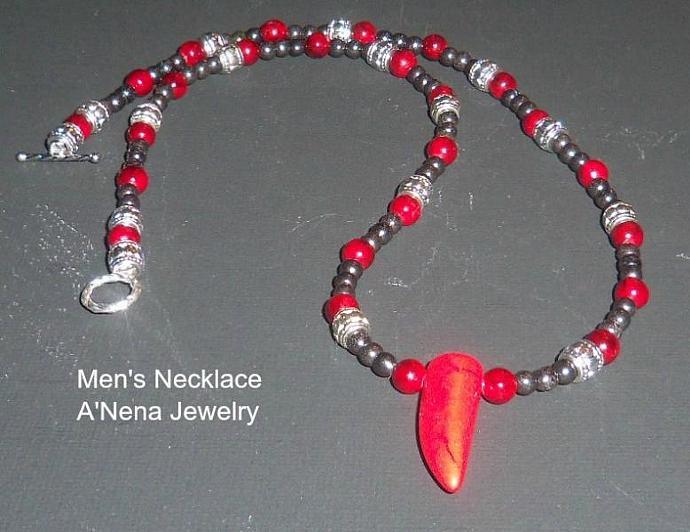 """FUERTE""Men's Necklace Hematite, Jasper, Howlite, Silver Plated Copper"