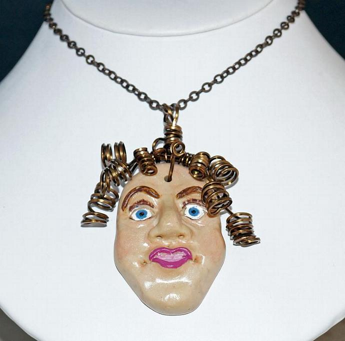 Lady with Curlique Hair Necklace