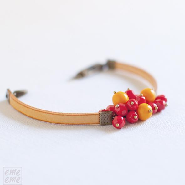 Orange Charm Bracelet - orange ribbon with cherry red and orange glass beads  -