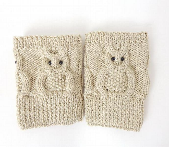 Boot Cuffs Knitted Cream Owl Boot Socks Boot By Kernelcrafts On Zibbet