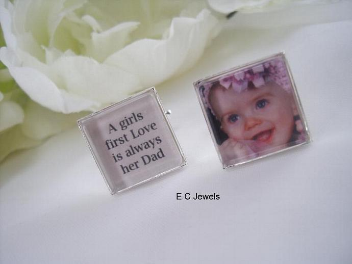 A girl's first love, Custom Photo - Cufflinks