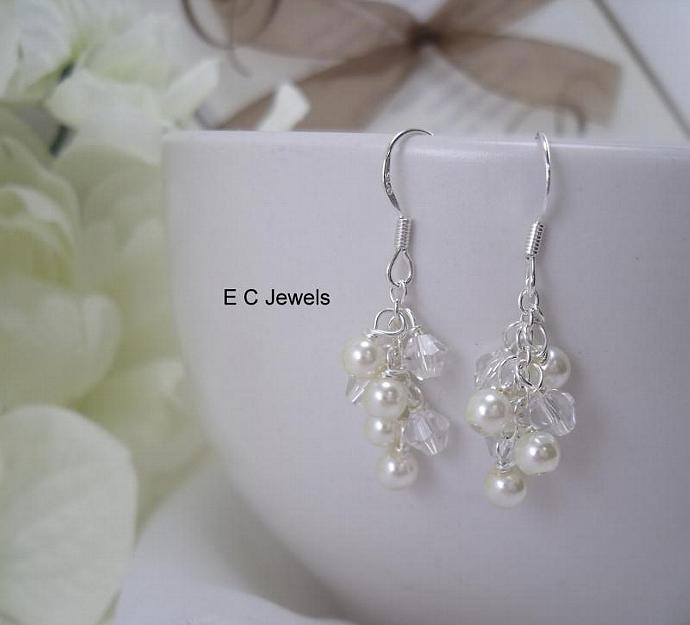 Dainty Pearl and Crystal Cluster Earrings