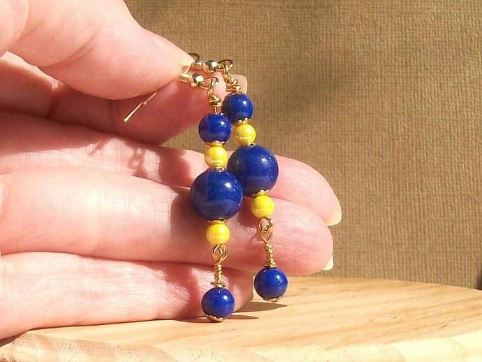Sapphire Blue Stone and Yellow Dangle Earrings, Gemstone Jewelry