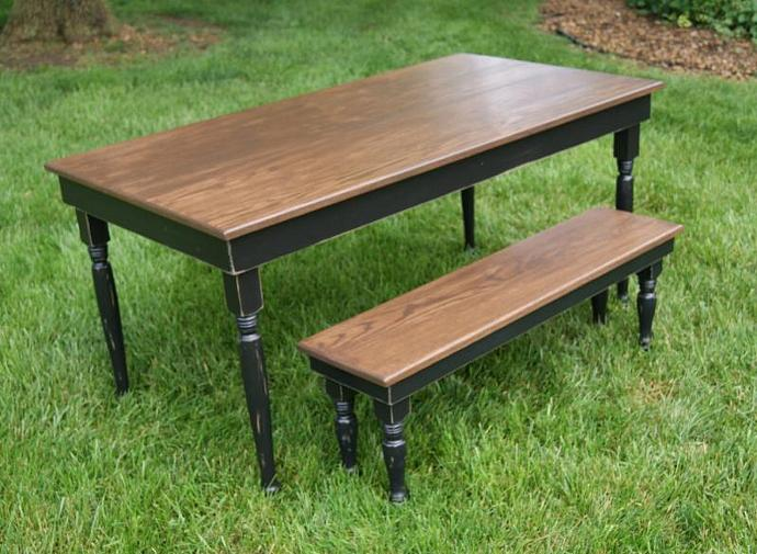 Black Farm Table On Turned Legs With 2 By FurnitureFarm On