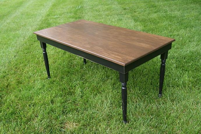 Black Farm Table With Turned Legs. Solid Oak Top. Rustic Table Shabby Chic