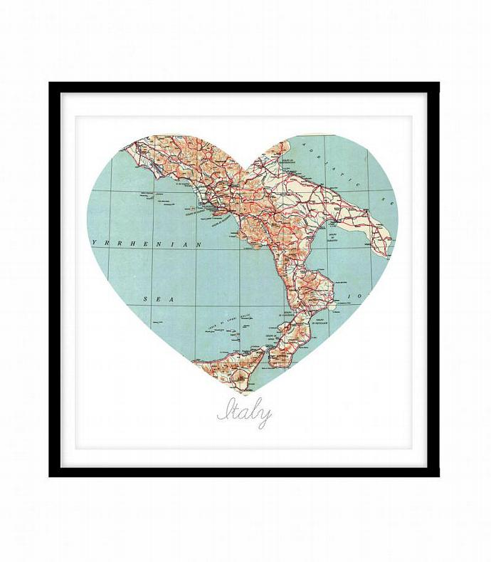 Italy Map Wall Art.8x8 Italy Heart Map Vintage Map Wall Kaleidoscopephoto