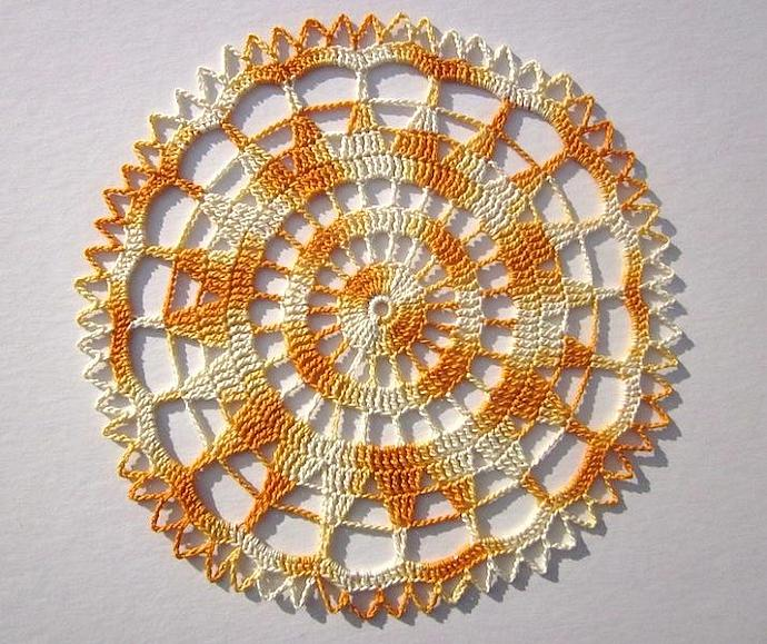 New Handmade Crocheted Yellow Starburst Doily