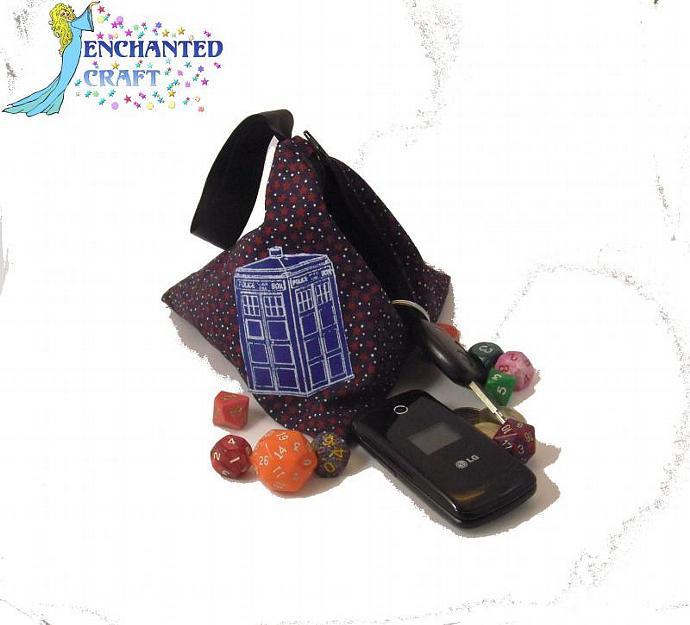Dr Who Zippered Tardis bag- small wristlet or dice bag