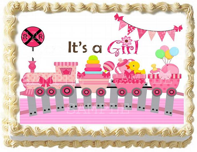 Pink Train Baby Girl Baby Shower Cake Topper