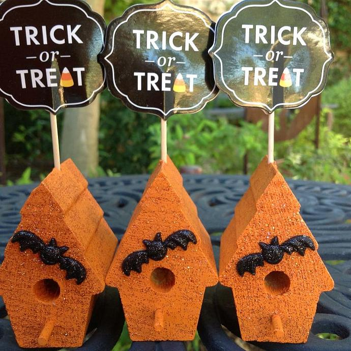 Halloween Trick or Treat Mini Birdhouses