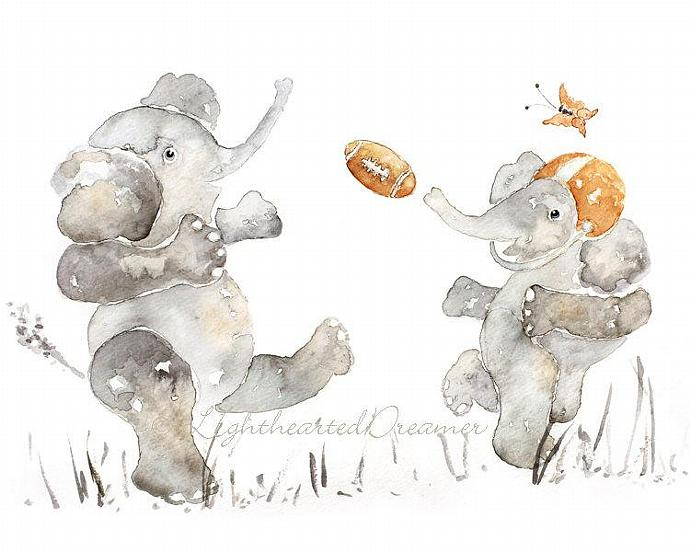 Football Decor, Sports Nursery, Baby Art, nursery art, baby decor, Elephant