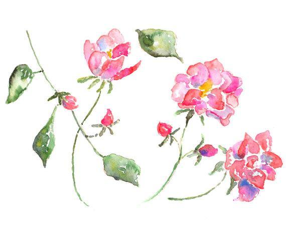 watercolor roses, Cottage Wall Art, flower art, cottage decor, Pink Art, art for