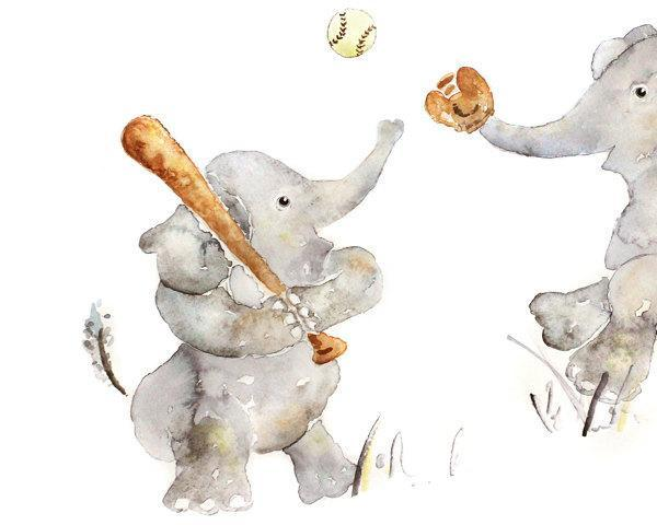 large sports nursery print, boys nursery art, elephant art, baseball, boys wall