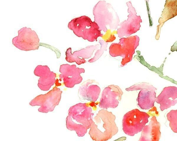 Flower painting watercolor art print lighthearteddreamer pink flower painting watercolor art print pink flowers watercolor painting pink mightylinksfo