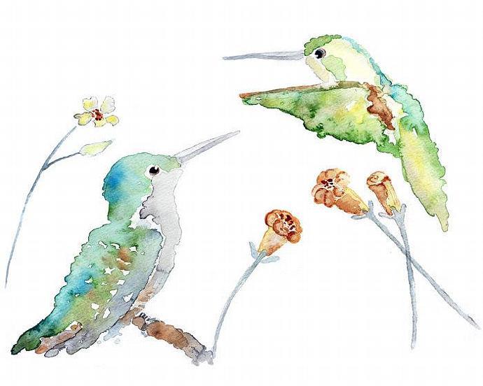 Whimsical Bird Art, Hummingbird Watercolor, Spring Wall Art, Watercolor  Birds,