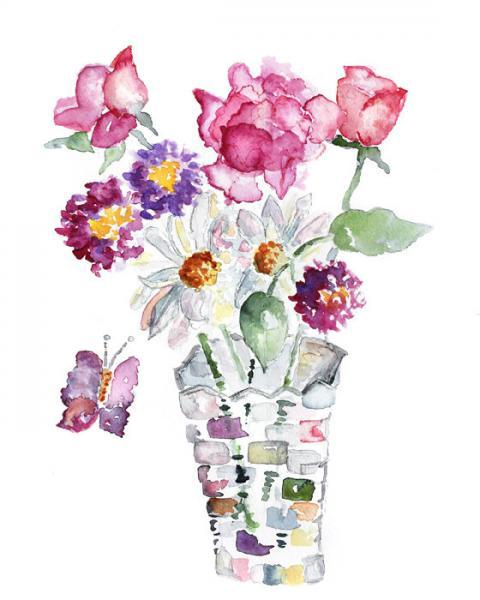 Colorful Watercolor Flowers Spring By Lighthearteddreamer On Zibbet