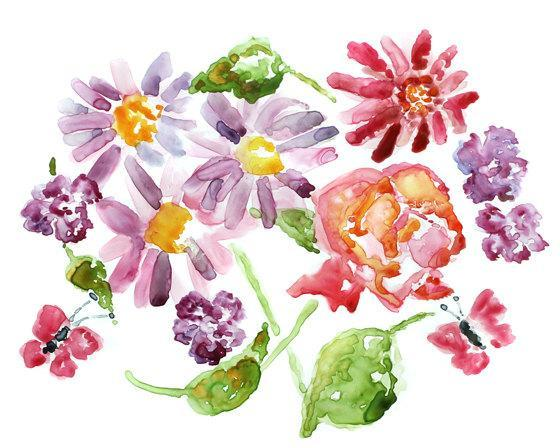 Colorful Flower Art, Watercolor Flowers Print, Flower Art Print, Flower Decor,