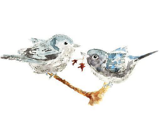 Love Birds Bird Watercolor cottage wall art Autumn Decor Bird Art Print  sc 1 st  Zibbet & Love Birds Bird Watercolor cottage by LightheartedDreamer on Zibbet