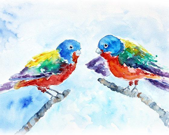 Colorful Bird Art, watercolor bird print, bird art, animal painting, watercolor