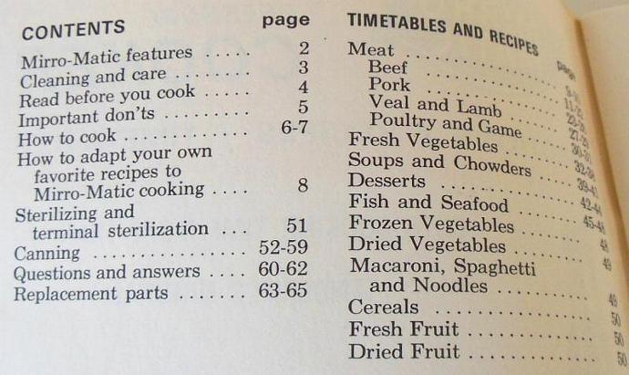 Mirro Matic  Pressure Cooker / Canner Instruction Manual Recipe Book