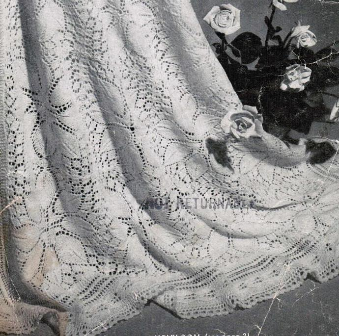 Beehive Heirloom rose medallions and Rose Petal Lace Shawl Vintage Pattern PDF