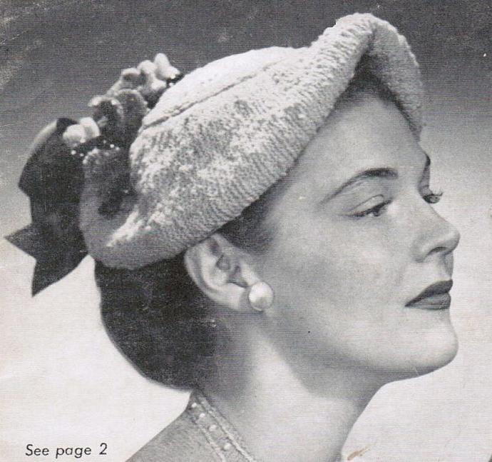 Beehive Women's Flowered Hat Vintage Pattern PDF digital pattern