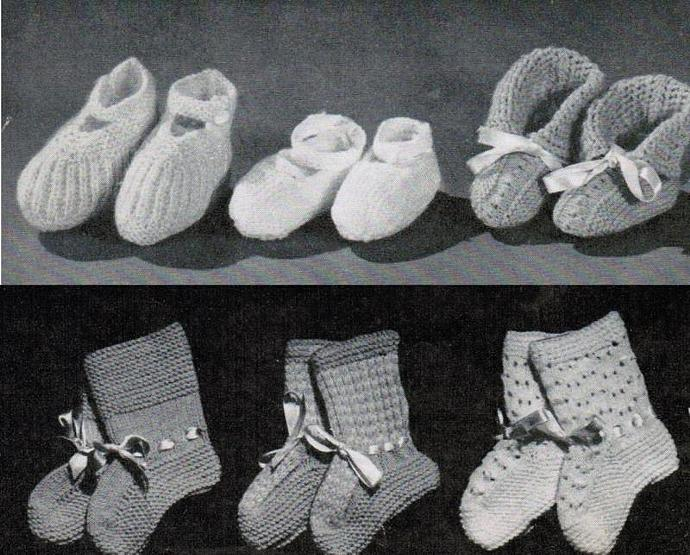 Monarch Baby Bootie Vintage Knitting Patterns PDF Set of 14 digital patterns