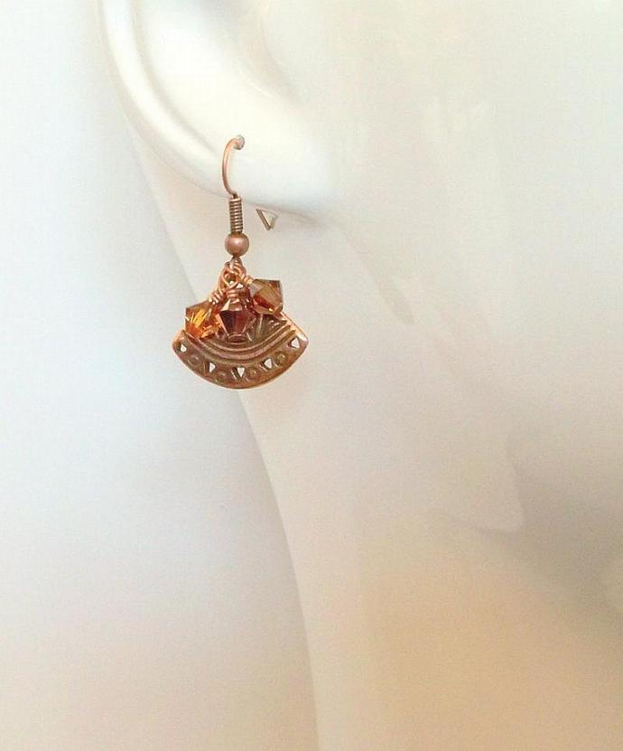 Earrings - Golden Crystal and Copper