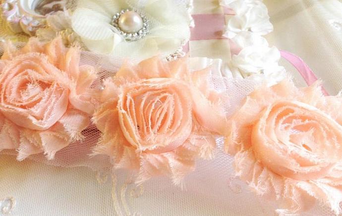 1 yd Baby PEACH Shabby Chiffon Frayed Rose Flower Trim for DIY Headbands,