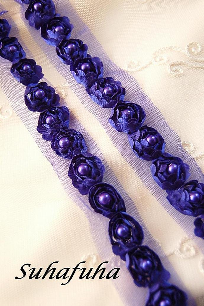 Satin Rosette Trim in ROYAL BLUE with Hand Sewn Matching Pearl Beads- 1 yard