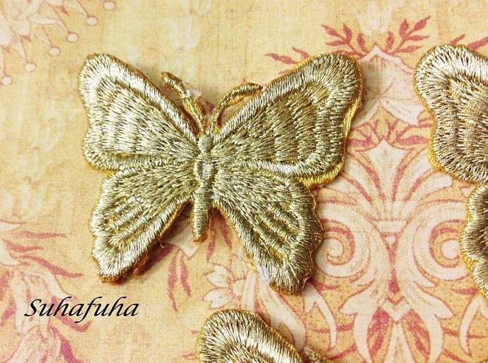 GOLD Metallic Embroidered Butterfly Applique- Set of 3 for Scrapbooks, Altered