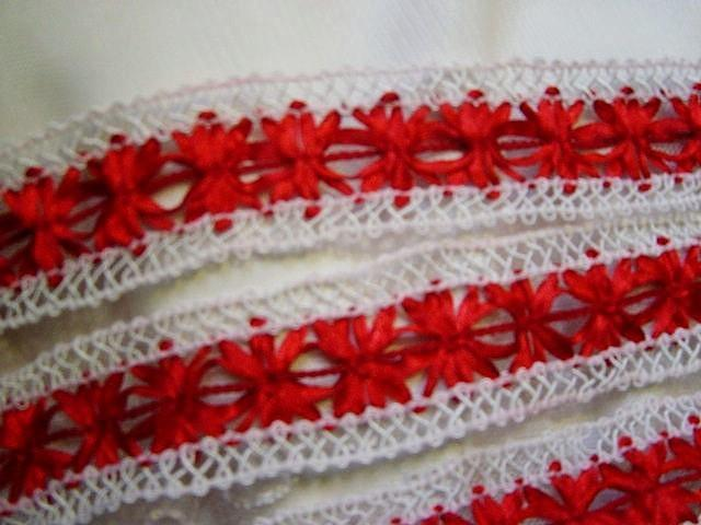 SALE- French Picot Gimp with Inset Satin Ribbon Pattern RED Lovely Holidays