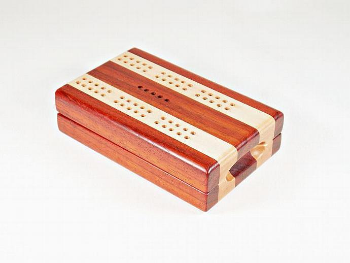 Compact Travel Cribbage - Padauk & Maple