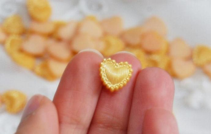 YELLOW  Flat Back Resin pearl cabochon HEART beads 100 PCS 6 mm