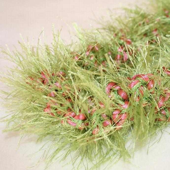 Green & Pink Crochet Hawaiian Lei