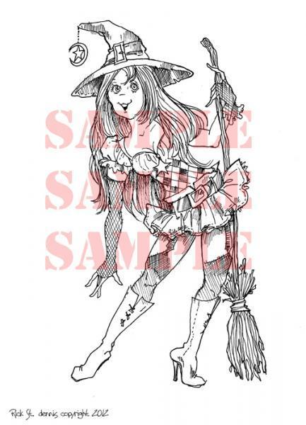 Cutie Witch digital stamp