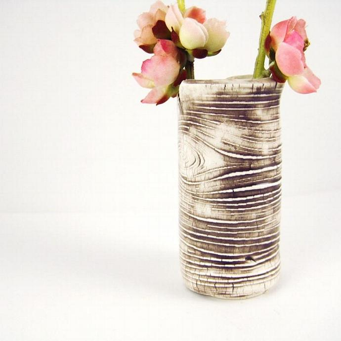 Small Bud Vase Faux Bois 4 Inch Tall Made To By Thebrickkiln On Zibbet