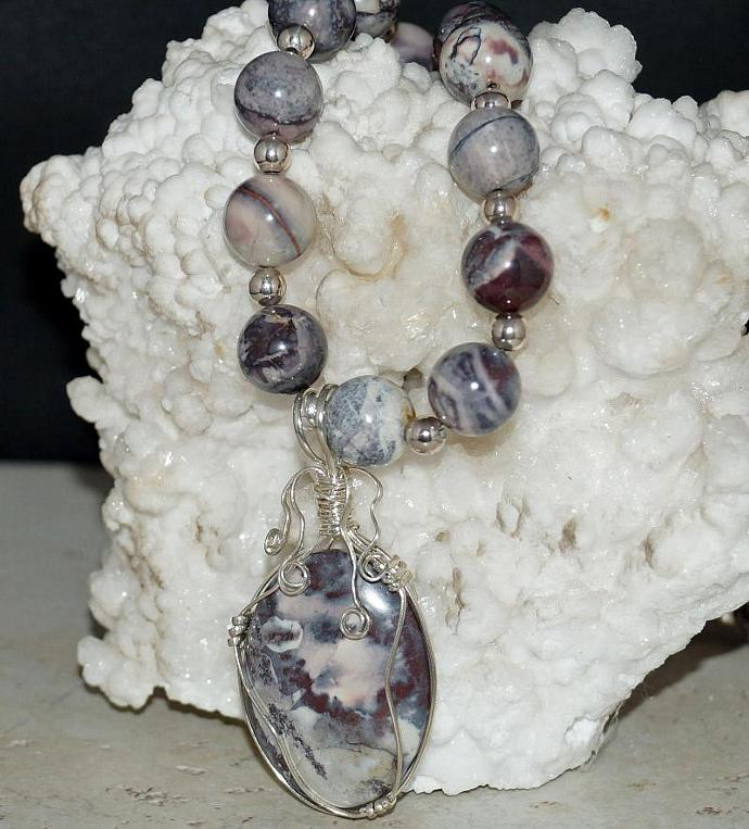 Porcelain Jasper and Oregon Plume Agate Necklace