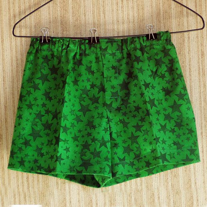 Green Xmas Stars Toddler Boxers, size 2