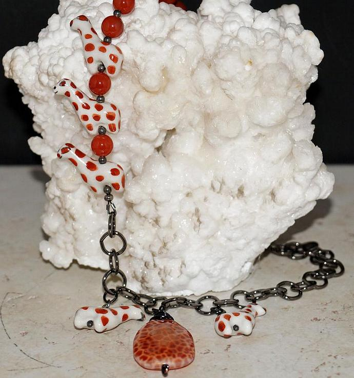 Fire Agate and Giraffe Necklace