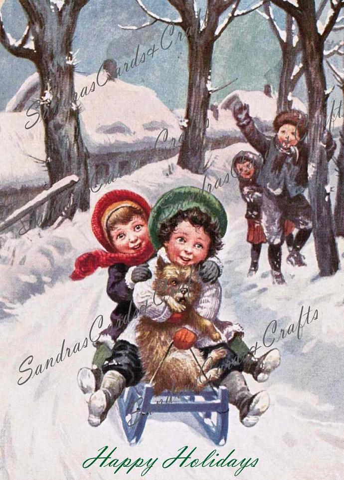 Girls Sledding Vintage Christmas postcard Digital Image of 1940's postcard /