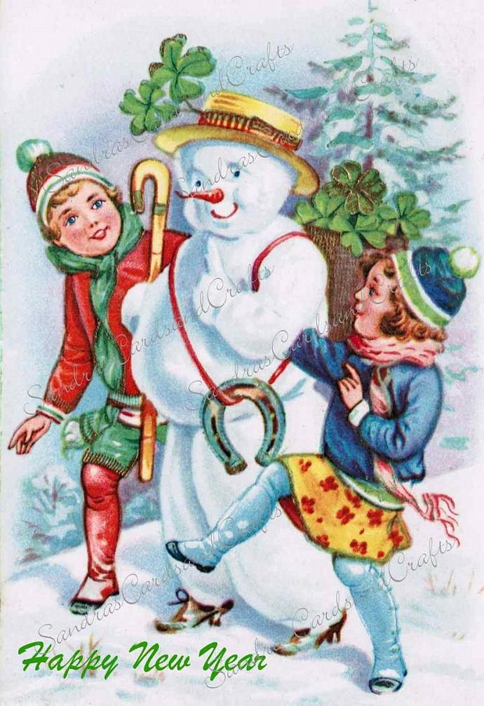 Girls with Snowman Vintage New Year's postcard Digital Image of 1940's postcard
