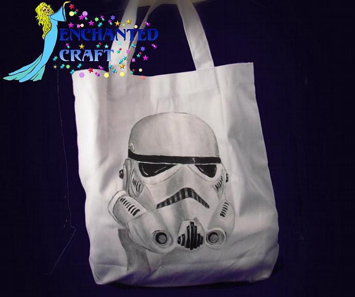 Star Wars STORM TROOPER tote bag- get your name on it for free- HANDPAINTED not
