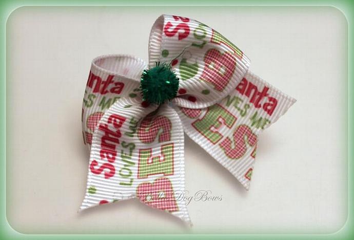 Santa Loves Me Best Casual Christmas Dog Bow Set - 2pcs