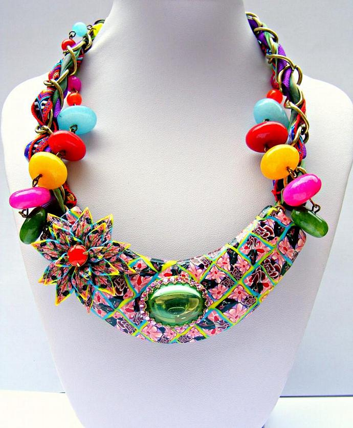 Polymer Clay Necklace, Colorful repurposed Necklace, Polymer Clay Jewelry,