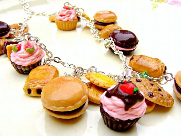Polymer Cupcake Necklace ,Polymer Clay Jewellery, Kawaii Charm, Miniature Food,